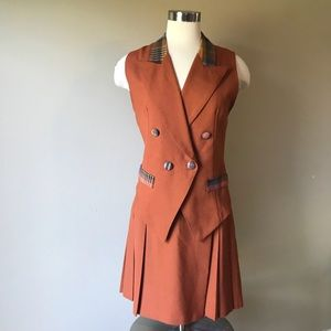 Vintage Burnt Orange Vest and Pleated Skirt Set